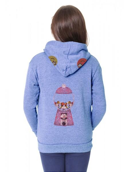 Kids Burnout Hoody Sweatshirt Gumball Rhinestones