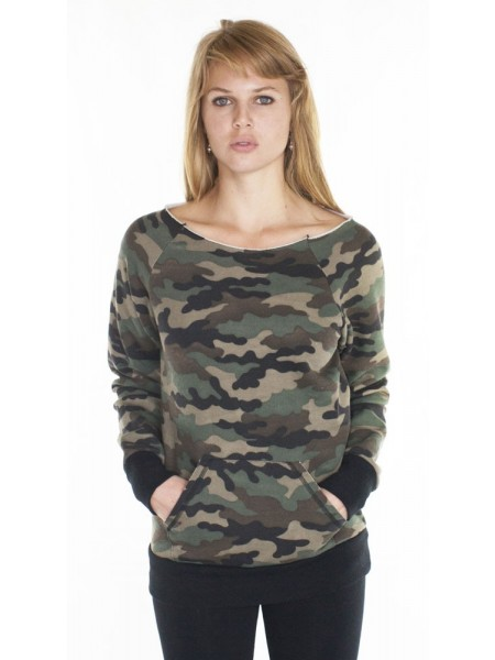 Camo Fleece Raglan w/Pouch Pocket