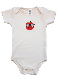 Organic Infant One Piece - Apple Graphic