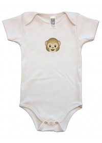 Organic Infant One Piece - Monkey Graphic