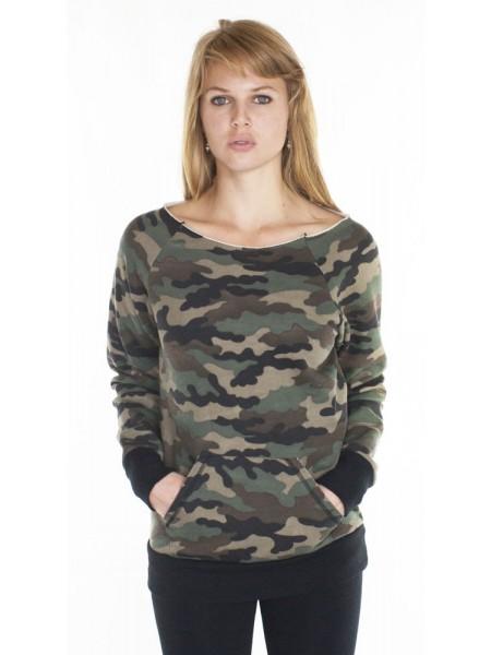 Camo Fleece Raglan w/Pouch Pocket